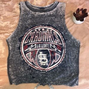 Tops - St. Louis Cardinal Burnout graphic baseball tee